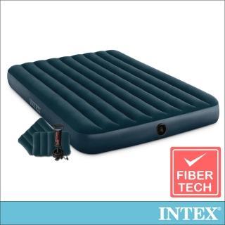 【INTEX】經典雙人加大充氣床墊/ 綠絨-寬152cm-特惠組合-附手壓幫浦+枕頭*2(64736)
