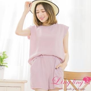 【lingling】後綁結素面上衣+鬆緊短褲兩件式套裝PA3371(簡約豆粉)