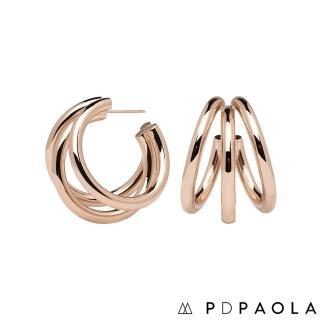 【PDPAOLA】西班牙精品 True Rose Gold 層次圓圈鍍18K玫瑰金耳環