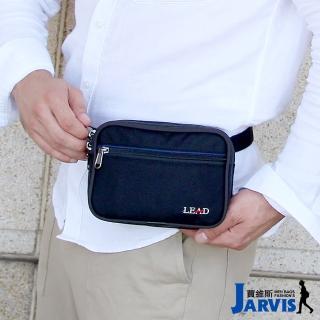 【Jarvis_賈維斯】萬用腰包 側肩背旅遊商務隨身包-方形(黑色)