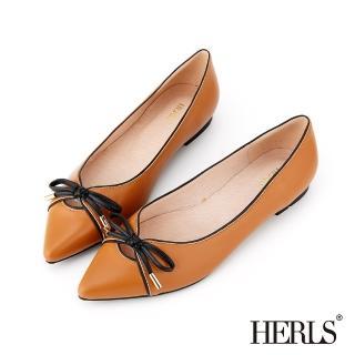 【HERLS】全真皮蝴蝶結滾邊配色尖頭平底鞋(駝色)