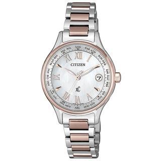 【CITIZEN 星辰】XC 電波櫻花粉鈦金屬羅馬腕錶(EC1169-50W)