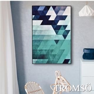 【TROMSO】北歐生活版畫有框畫-綠境菱格WA72(有框畫掛畫掛飾)