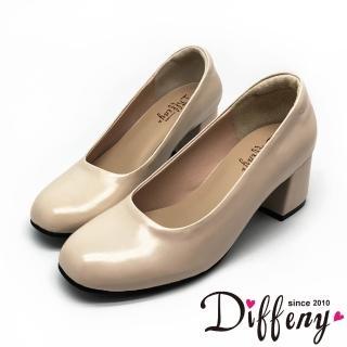 【Diffeny】氣質素雅 MIT質感素面方跟鞋(米)