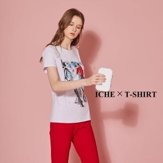 【ICHE 衣哲】3D精緻亮片女伶印花造型T恤上衣-兩色-丁香紫