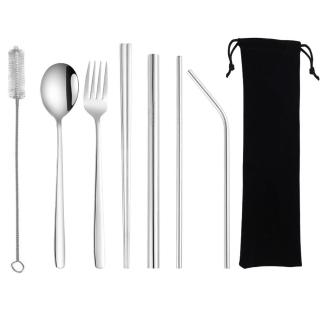 【PUSH!】餐具用品鍍鈦環保304不鏽鋼吸管餐具8件套裝(一套組E135)