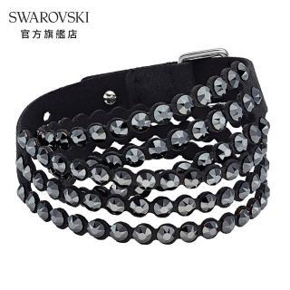 【SWAROVSKI 施華洛世奇】Impulsep Slake 黑色華麗閃耀手環