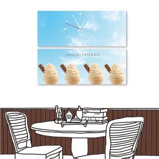 【24mama 掛畫】二聯式 現代時鐘掛畫 無框畫 50x20cm(冰淇淋)