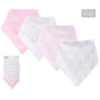 【Luvable Friends】100%純棉嬰幼兒三角領巾/口水巾圍兜4入組_粉白貓頭鷹(LF51406)