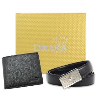 【DRAKA 達卡】黃金禮盒 真皮皮夾+自動皮帶-6015(41DK6015)