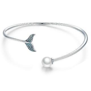 【RJ New York】美人魚之淚s925彩鑽珍珠開口手環(藍色)