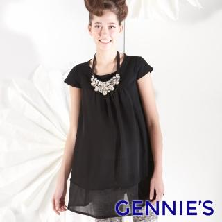 【Gennies 奇妮】簡約時尚雪紡拼接上衣(橘/黃/紫/黑G3164)