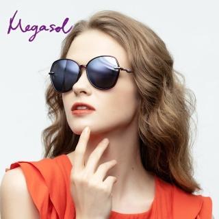 【MEGASOL】UV400防眩偏光太陽眼鏡 女仕大框矩方框墨鏡(細緻大框神奇魔杖鏡架反光鏡片1942F-3色選)