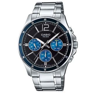 【CASIO 卡西歐】時尚三眼三針爵士腕錶-藍圈(MTP-1374D-2A)