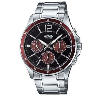 【CASIO 卡西歐】時尚三眼三針爵士腕錶-咖啡紅(MTP-1374D-5A)