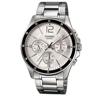 【CASIO 卡西歐】時尚三眼三針爵士腕錶-銀面(MTP-1374D-7A)