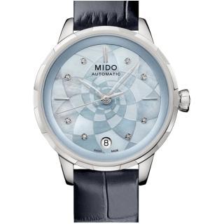 【MIDO 美度】花雨系列雅緻蓮花女錶(M0432071613100 藍)