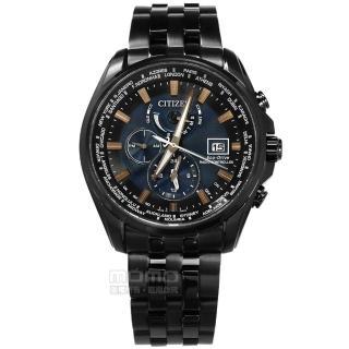 【CITIZEN 星辰】光動能 電波時計 藍寶石水晶 日期 防水200米 不鏽鋼手錶 深藍x鍍黑 44mm(AT9039-51L)