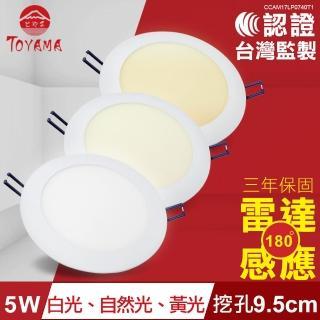 【TOYAMA特亞馬】5W超薄LED雷達微波感應崁燈 挖孔尺寸9.5cm(黃光  自然光  白光)