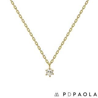 【PDPAOLA】西班牙精品 Nora Gold 經典奢華鍍18K金鋯石項鍊