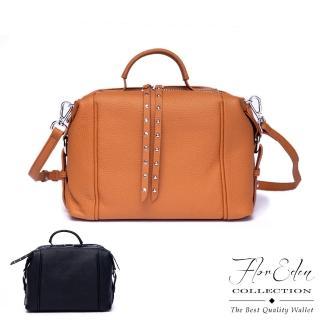 【DF Flor Eden】韓版潮流時尚款真皮鉚釘手提側背包-共2色