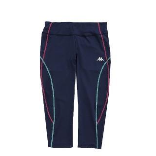 【KAPPA】舒適尚女針織七分慢跑緊身褲 合身尺寸 1件(丈青)