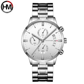 【HANNAH MARTIN】都會型男裝飾三眼石英腕錶(HM-VA-G001-WS)