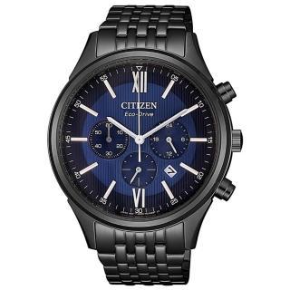 【CITIZEN 星辰】光動能 夜幕騎士限定款時尚計時男錶-黑x藍/41.7mm(CA4415-81L)
