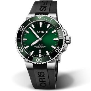 【ORIS 豪利時】AQUIS潛水機械錶(0173377304157-0742464EB 綠)