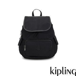 【KIPLING】極致低調黑拉鍊掀蓋後背包-CITY PACK S