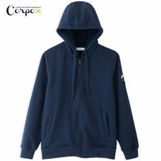 【Corpo X】男款發熱柔刷毛連帽外套(深藍)