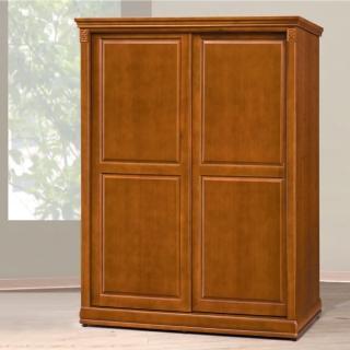 【AS】愛麗5尺實木樟木色推門衣櫥-147.9x63.7x196.4cm