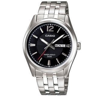 【CASIO 卡西歐】潮流大器不鏽鋼星期日期顯示指針紳士錶-黑面(MTP-1335D-1A)