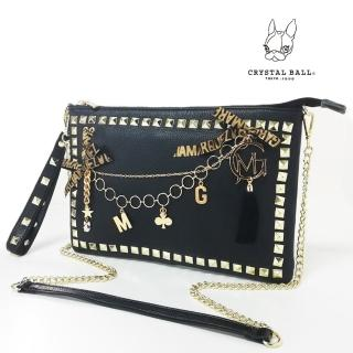 【CRYSTAL BALL 狗頭包】GM Studs Leather Clutch Bag時尚手工手拿包(狗頭包)