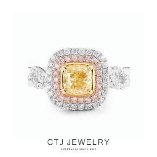 【CTJ】1克拉絢麗黃彩鑽14K金戒指(Fancy light yellow)