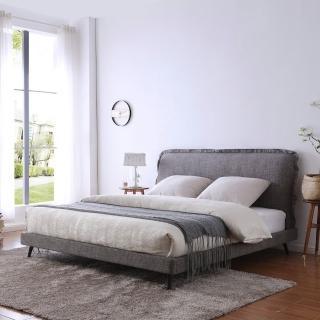 【FL 滿屋生活】FL Hols 荷斯-5尺灰織紋布邊實木高背床架-5*6.2尺(實木床架/標準雙人/繃布床架)