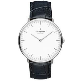 【Nordgreen】Native本真x月光銀 黑色鱷魚紋真皮錶帶腕錶 40mm(NA40SILEBCXX)