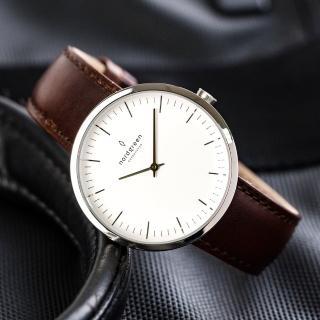 【Nordgreen】Infinity無限x月光銀 深棕真皮錶帶腕錶 40mm(IN40SILEDBXX)