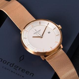 【Nordgreen】Philosopher哲學家x玫瑰金 玫瑰金米蘭帶腕錶 40mm(PH40RGMEROXX)
