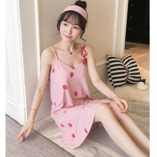 【Secret Lover】帶胸墊粉草莓蝴蝶結居家服吊帶睡裙SL5902