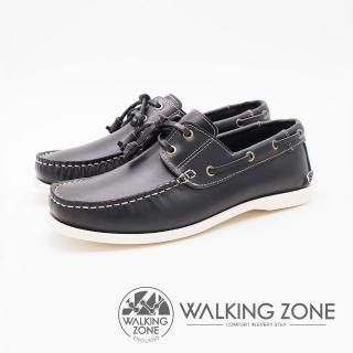 【WALKING ZONE】英倫 真皮手工白線車縫帆船雷根男鞋(深藍)