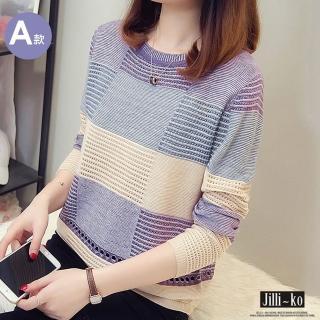 【JILLI-KO】薄款拼色鏤空針織衫-F(A款/B款)