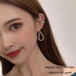 【Anpan】韓東大門巴洛可奢華璀鑽耳針式耳環