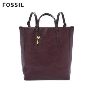 【FOSSIL】Camilla 真皮三用後背包-無花果紫紅色ZB7517503(可置入13吋筆電)