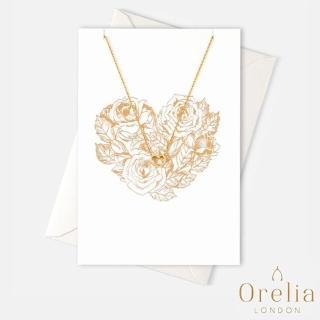 【Orelia】英國雅致品牌 Heart Gift Card 簡約質感心形鏤空鍍金墜飾項鍊(附禮品卡)