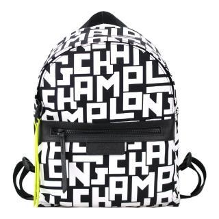 【LONGCHAMP】Le Pliage LGP系列滿版字母尼龍後背包(小/黑X白)