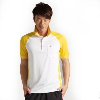 【西崎】男款抗UV吸濕排汗機能POLO衫 白黃(L-2L)