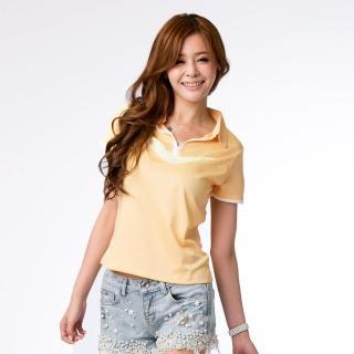 【西崎】女款抗UV吸濕排汗機能POLO衫 黃(M-5L)