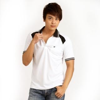 【西崎】男款抗UV吸濕排汗機能POLO衫 白黑(XL-2L)