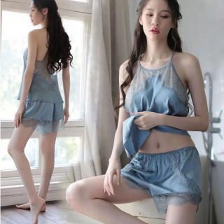 【Secret Lover】仿真絲性感蕾絲露背睡衣褲套組SL8802